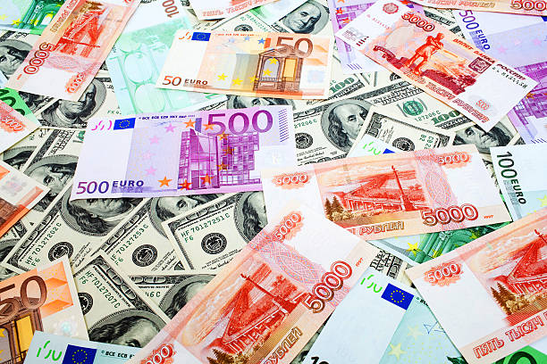 Dollars, Russian roubles and Euro stock photo