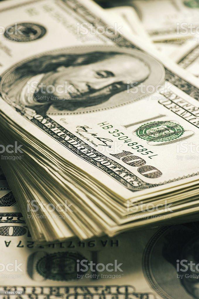 Dollars stack close-up royalty-free stock photo