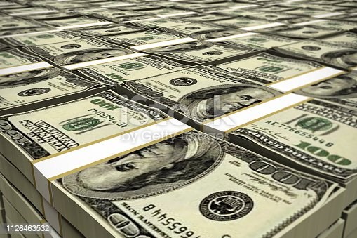 huge deposit of dollars stack 3d illustration