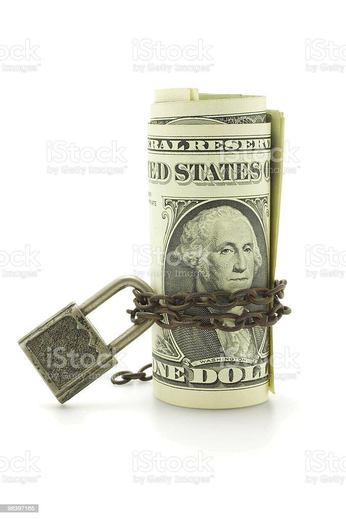 미국 달러 미만 사슬임 및 잠금 royalty-free 스톡 사진
