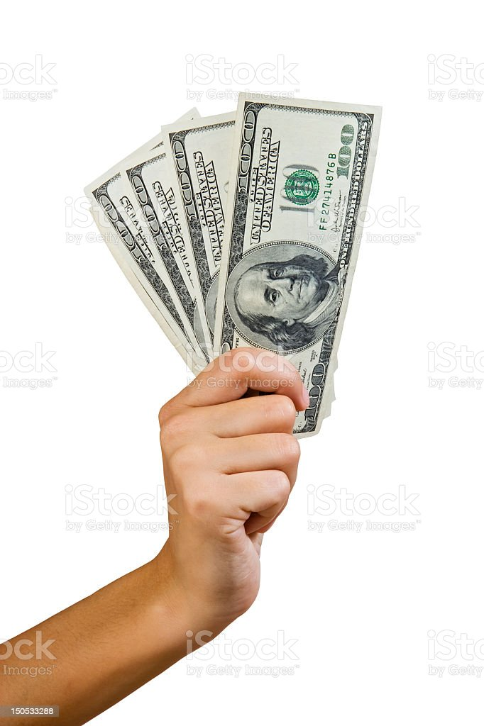 US dollars with Benjamin Franklin, clipping paths stock photo
