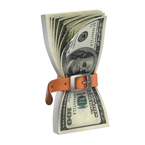dollars with tighten belt - financial crisis 3d concept dollars with tighten belt - financial crisis 3d concept tighten stock pictures, royalty-free photos & images
