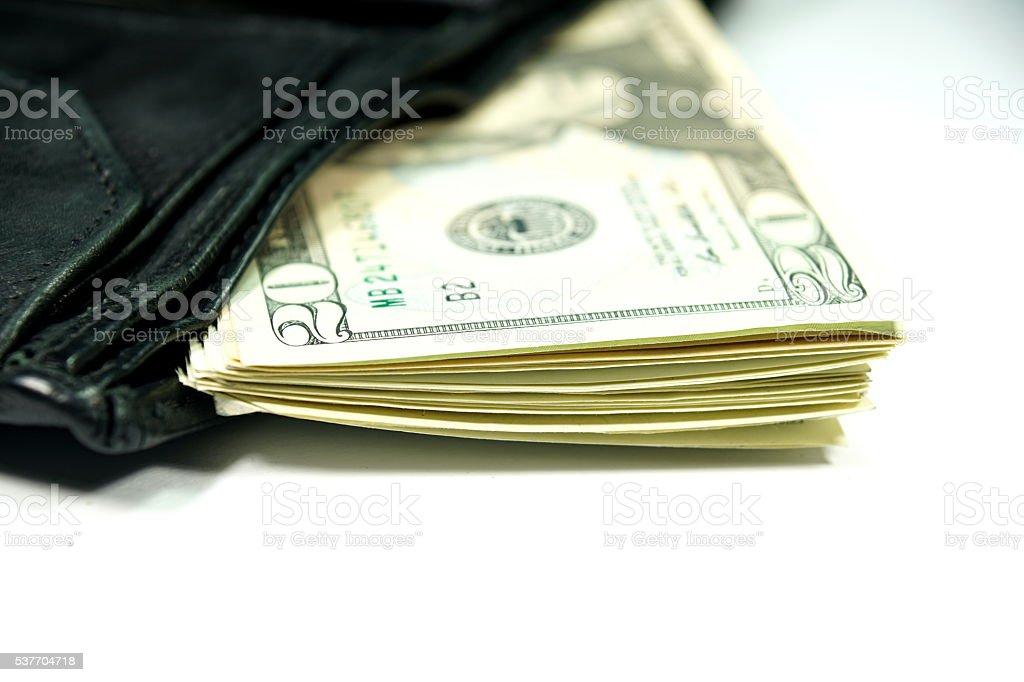 Dollarscheine und Geldbörse stock photo