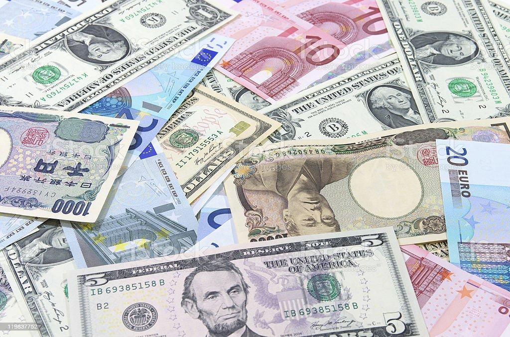 US dollars,Euro,Yen stock photo