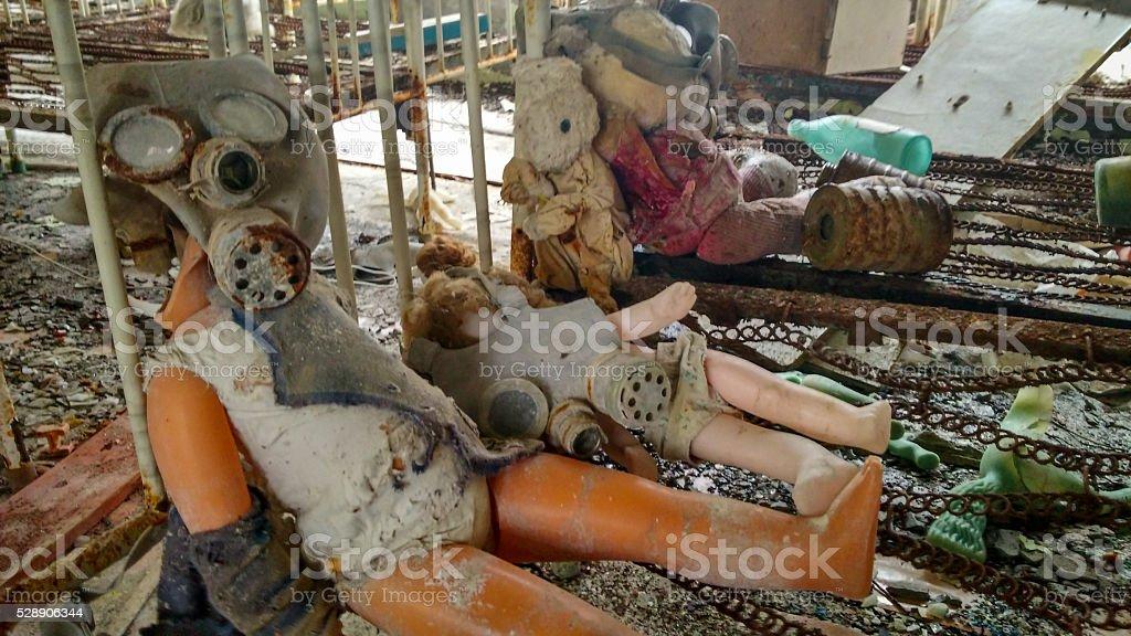 dolls in kindergarten in Pripyat stock photo