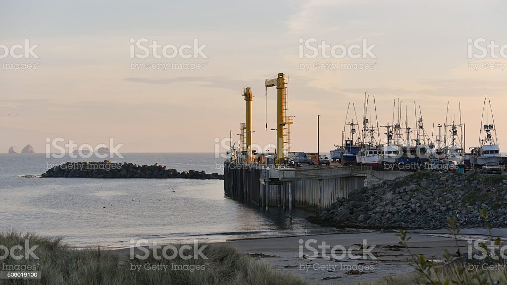 dolly-dock port at sunset stock photo