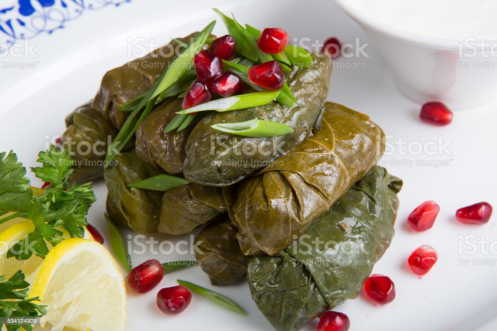 Dolma served with leek stock photo