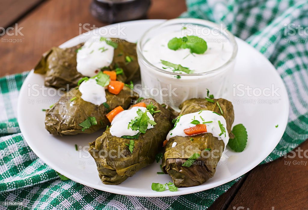 Dolma stuffed with rice and meat stock photo