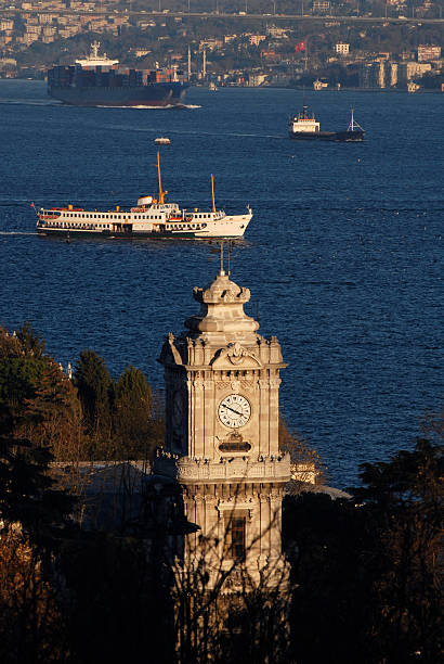 Dolmabahce Clock Tower, Bosphorus, Istanbul stock photo