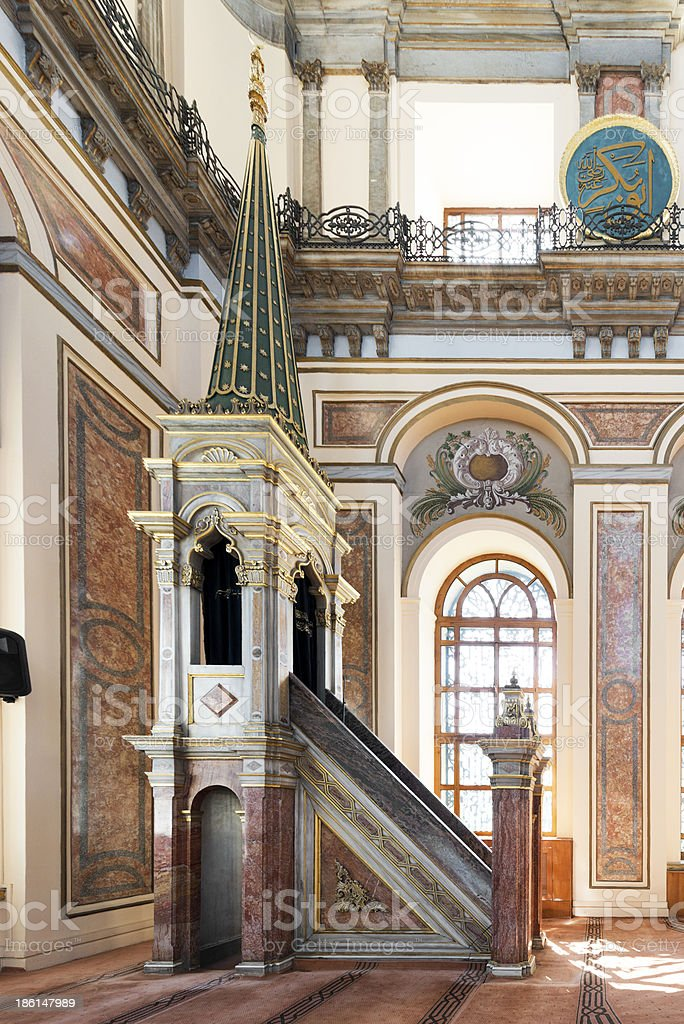 dolmabahce mosque interior stock photo