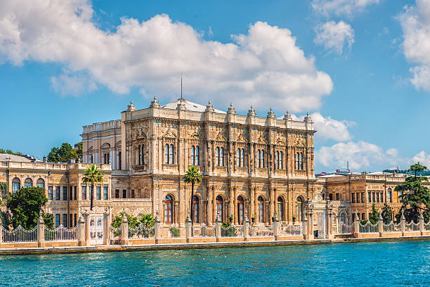Dolmabahce Palace Dolmabahce Palace on the banks of the Bosphorus in Istanbul. bosphorus stock pictures, royalty-free photos & images