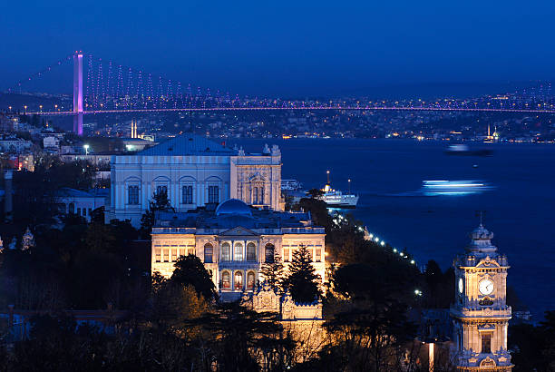 Dolmabahce Palace with Bosphorus stock photo