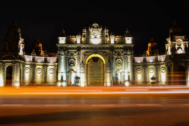Dolmabahce Palace's Main Gate at Night, İstanbul, Turkey stock photo