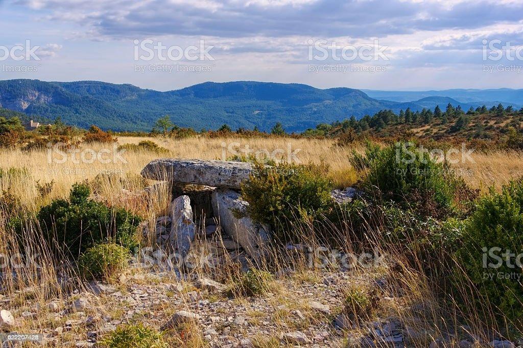Dolmen de la Roque in Cevennes stock photo