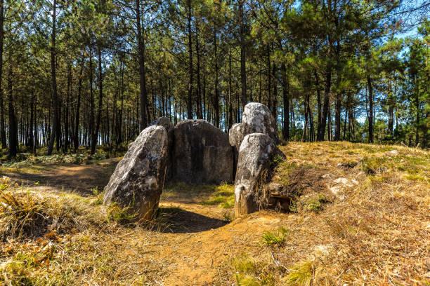 Dolmen - Galicia A dolmen in Vixiador forest - Vigo, Galicia - Spain portal dolmen stock pictures, royalty-free photos & images