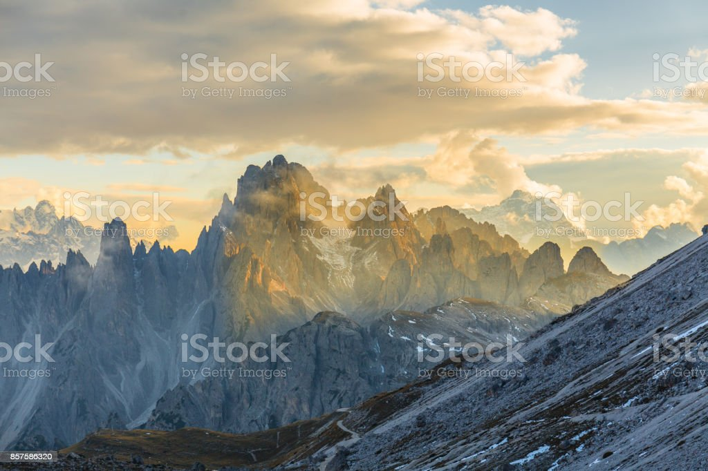 Dolomite mountain landscape stock photo