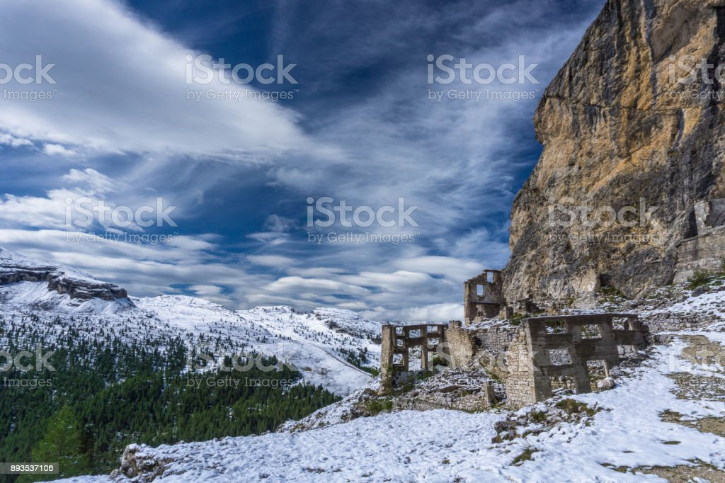 Dolomite mountain landscape with World War One ruins stock photo