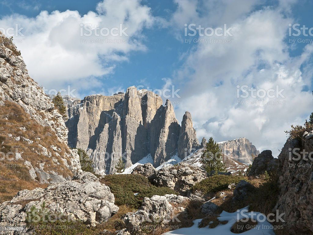 Dolomite mountain rock stock photo