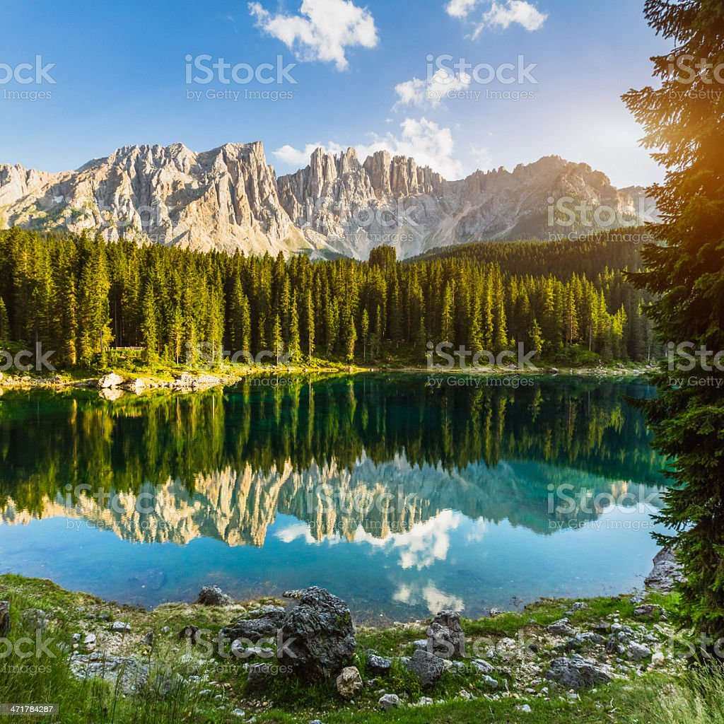 Dolomites Alpine Lake stock photo