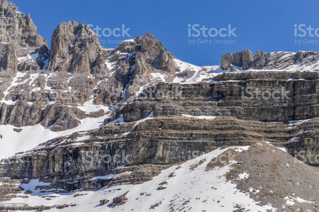Dolomites Alps mountains in spring in Italy, Madonna di Campiglio royalty-free stock photo
