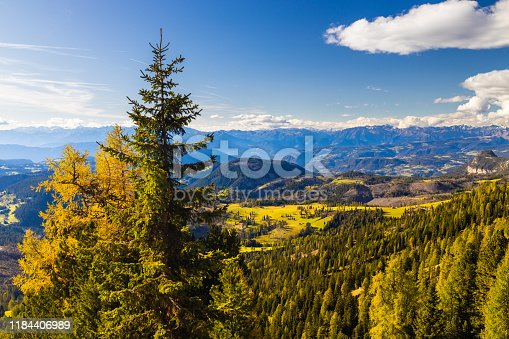 istock Dolomites beautiful panorama in the place of Roda di Vael Italy 1184406989