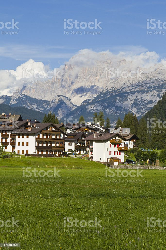 Dolomites - Civetta mountains with clouds from Falcade stock photo