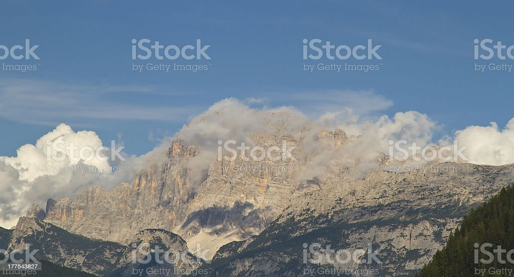 Dolomites - Civetta mountains with clouds stock photo