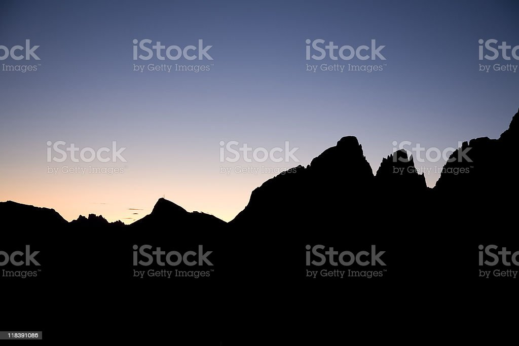 Dolomites in sunset royalty-free stock photo