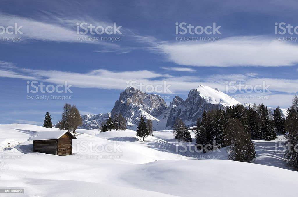 dolomites in winter stock photo