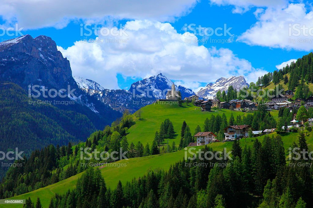 Dolomites italian alpine Colle Santa Lucia, Cortina and Giau Pass. stock photo