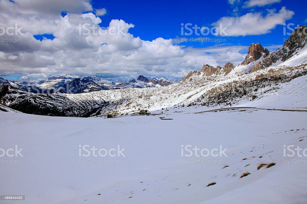 Dolomites italian alpine Giau Pass mountain Road, near Cortina stock photo