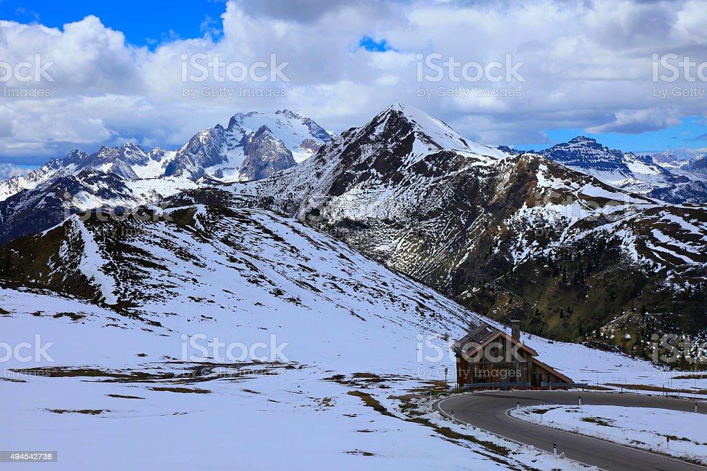 Dolomites italian alpine Giau Pass Road, Hut Rifugio, Cortina stock photo