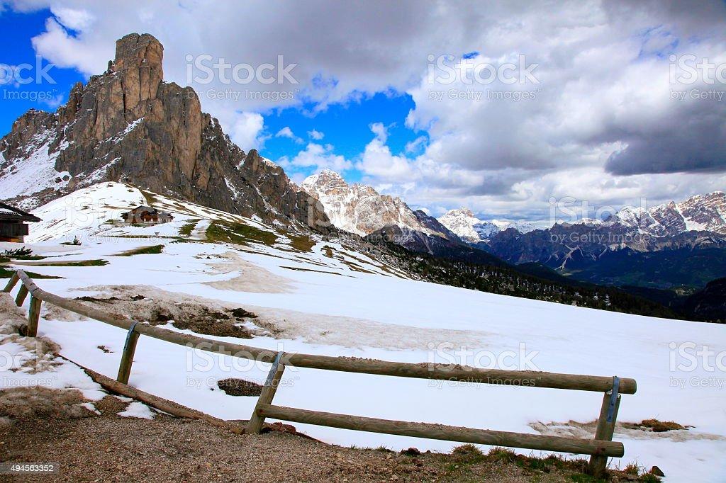 Dolomites italian alpine Giau Pass road, mount Cristallo, Cortina stock photo