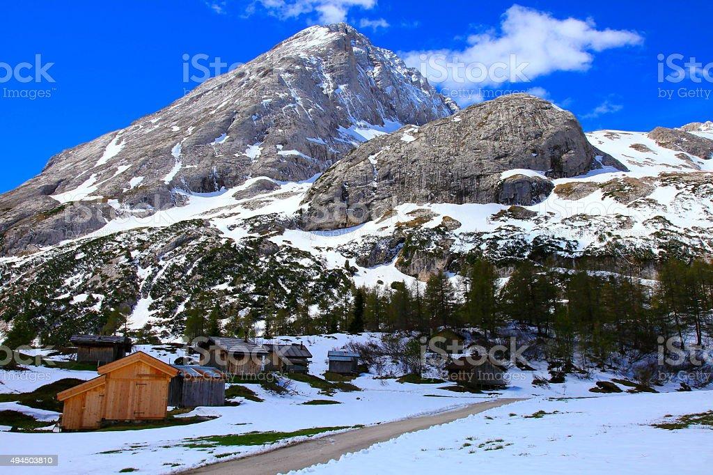 Dolomites italian alpine Mount Civetta, Marmolada Glacier, Fedaia Pass, rifugios stock photo