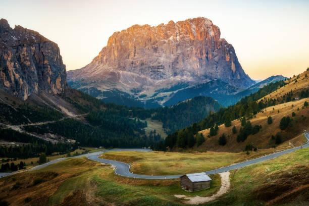 Dolomites Italy Landscape - Sassolungo Langkofel stock photo