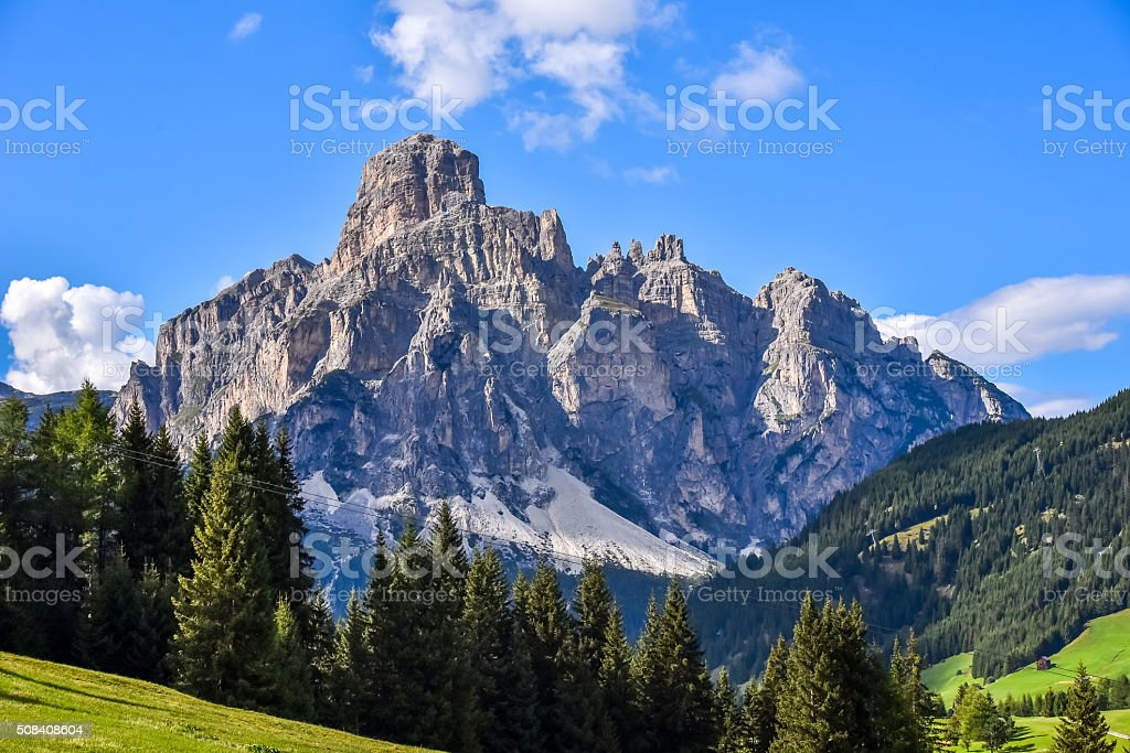 Dolomites Italy - Val Gardena -  Passo Sella stock photo