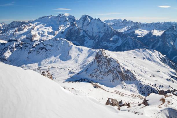 Dolomitas, Italia - Vista desde Sass Pordoi, Arabba-Marmolada, Val Di Fassa - foto de stock