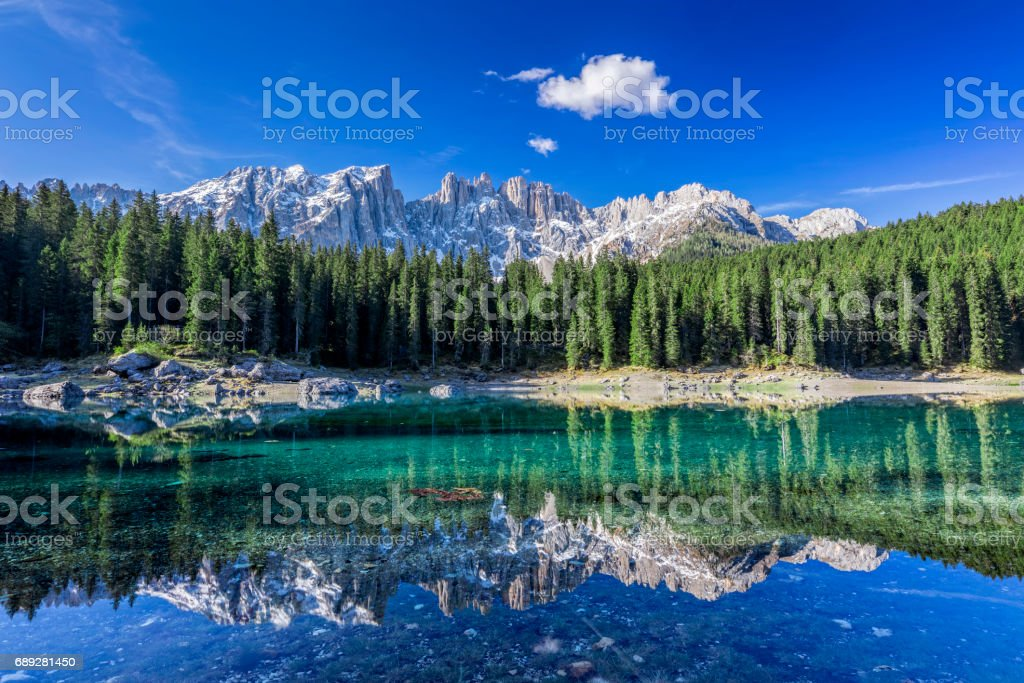 Dolomites - lake carezza - Karersee, Trentino-Alto Adige, Italy stock photo