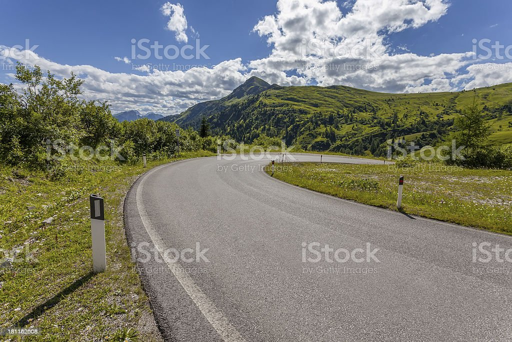 Dolomites landscape with mountain road. Italy royalty-free stock photo