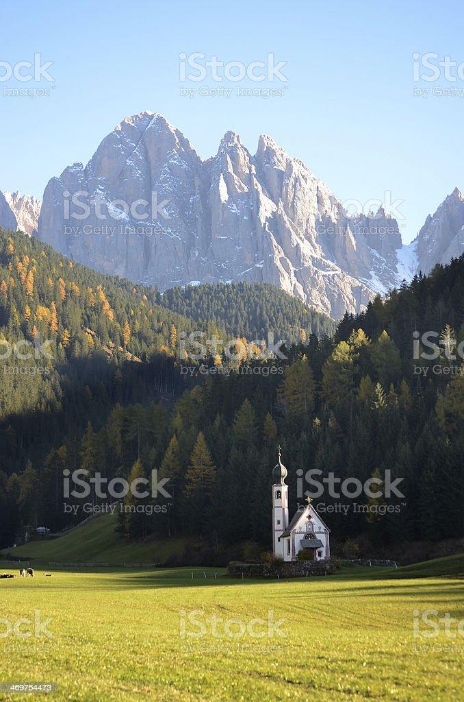 Dolomites mountain church stock photo