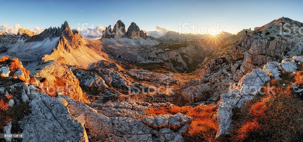 Dolomites mountain panorama in Italy, Tre Cime di Lavaredo stock photo