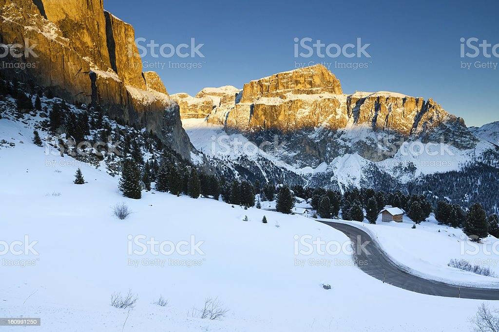 Dolomites mountains at sunset, Val di Fassa, Italy royalty-free stock photo