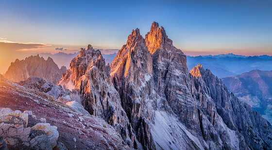 Dolomites mountains  glowing at sunset, South Tyrol, Italy