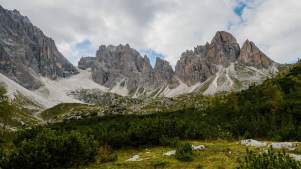 Dolomites mountains south tyrol - Lago di Popera panorama stock photo