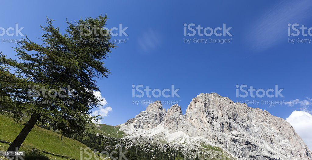 Dolomites of Val Gardena in Italy, Sella Pass, Mountain Landscape royalty-free stock photo