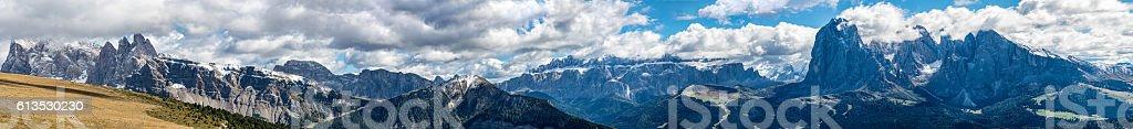 Dolomites panorama  in Raschötz South Tirol Italy stock photo
