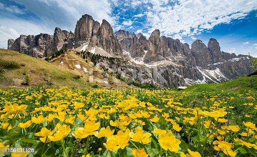 Alpine mountain peak in Italy Alps