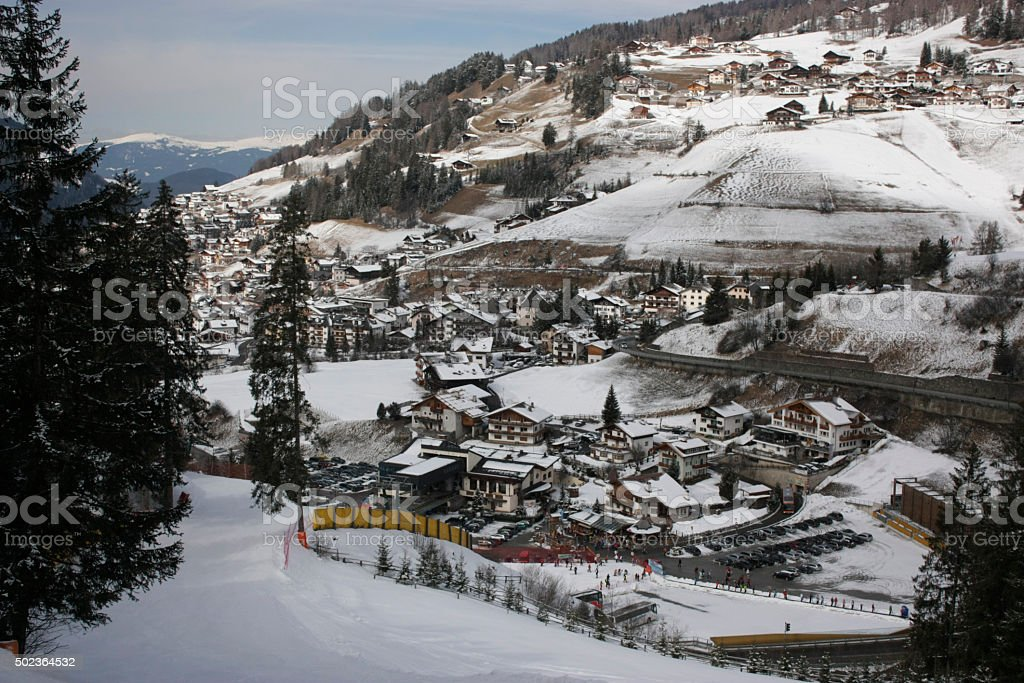 Dolomites skiing resort. Gardena. stock photo