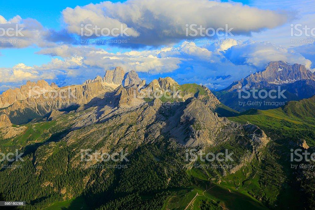 Dolomites sudtirol landscape panorama from Lagazuoi, Cinque Torri near Cortina stock photo