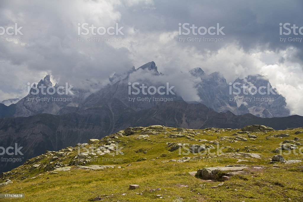 Dolomites (Italy) - Valles Pass during cloud day stock photo